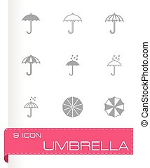 Vector umbrella icon set on grey background
