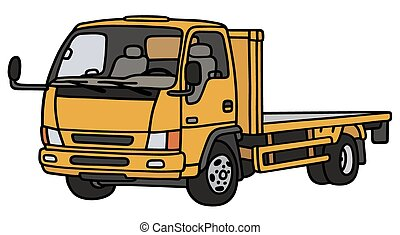 Orange small truck - Hand drawing of an orange small truck -...