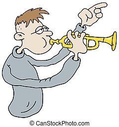 Funny trumpetist - Hand drawing of a funny trumpetist
