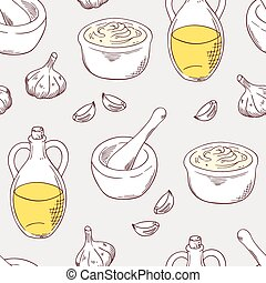 Hand drawn aioli sauce seamless pattern background - Aioli...