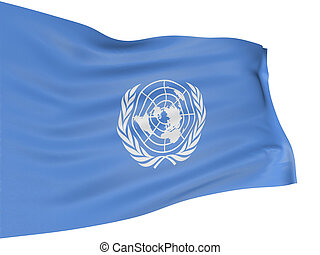 3D flag of the United Nations with fabric surface texture...