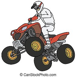 Rider on the ATV - Hand drawing of a rider on the all...