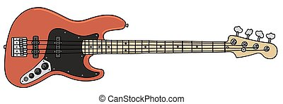 Bass guitar - Hand drawing of an electric bass guitar