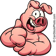 Cartoon pig with thumb up. Vector clip art illustration with...
