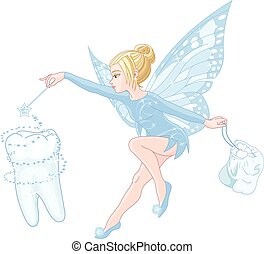Tooth fairy  - Illustration of smiling cute tooth fairy