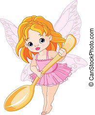 Cute little fairy - Illustration of cute little fairy holds...