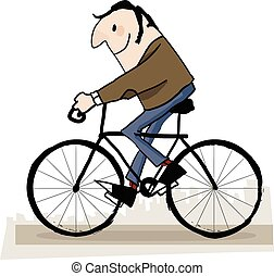 Man in the park riding bicycle