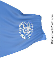 3D flag of the United Nations with fabric surface texture....