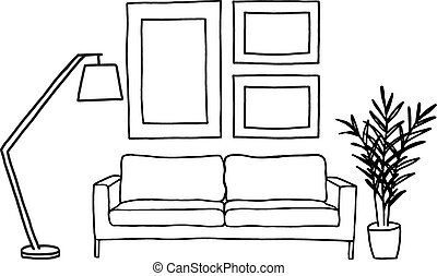 sofa and picture frames, vector - hand-drawn living room...
