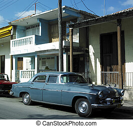 old car in Guantanamo\'s street, Cuba