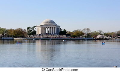Jefferson Memorial Paddle Boats - Visitors cruise in paddle...