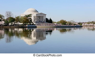 Jefferson Memorial Cherry Blossom F - Visitors climb the...