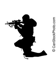 soldier - vector illustration of a man silhouette with gun