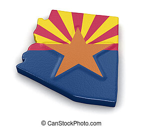 Map of Arizona state with flag. Image with clipping path.