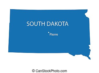 blue map of South Dakota with indication of Pierre