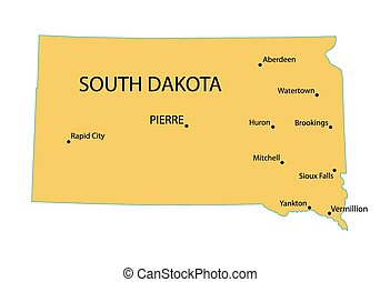yellow map of South Dakota with indication of largest cities
