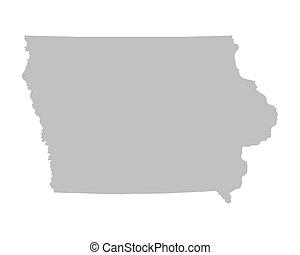 grey map of Iowa