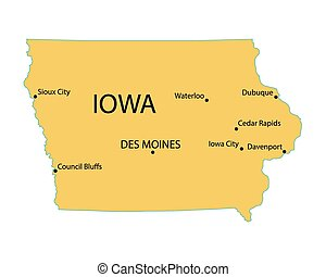 yellow map of Iowa with indication of largest cities