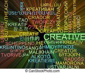 Creative multilanguage wordcloud background concept glowing
