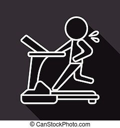 treadmill flat icon with long shadow,eps10