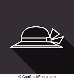 Women hat flat icon with long shadow
