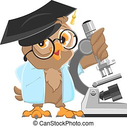Owl professor in mortarboard holding the microscope....