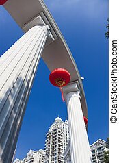 Chinese Lanterns and Column