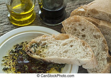 Ciabatta with Oil and Balsamic. - Ciabatta bread with olive...