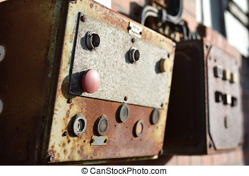 control panel - Buttons on a control panel of a machine to a...