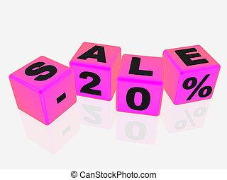 Sale -20% - Pink sale cubes - 20%