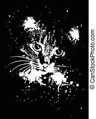 Grunge Cat - Abstract grunge portrait of a cat with ink...