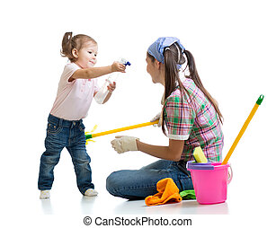 mom with child cleaning room and having fun - mom with child...