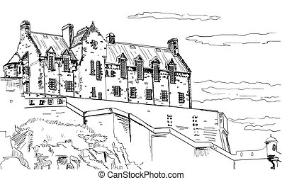 Old Castle - Picture of an old castle on a white background