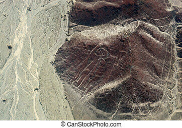 Geoglyphs and lines in the Nazca desert. Peru - Geoglyphs...