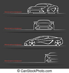Sports car background set - Abstract sports car background....