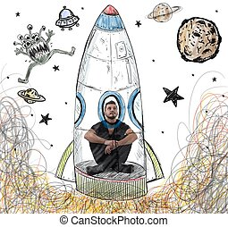 Be an astronaut - Man imagines himself to be an astronaut