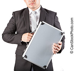 business man holding metal strong briefcase isolated white...