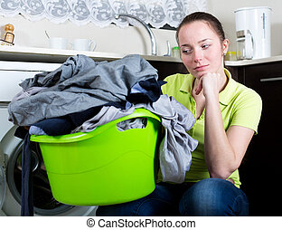 Unhappy girl with dirty clothes - Sad woman with dirty...