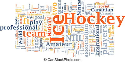 Ice hockey word cloud - Word cloud concept illustration of...