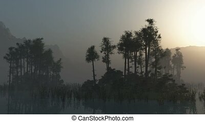 Silhouette of a trees in the water at Sunrise on a misty...