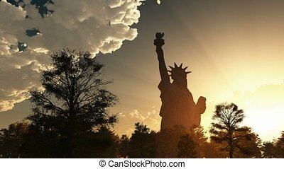 Statue of Liberty on the sunset