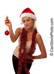 rubio, mujer, con, santa, Claus, sombrero,