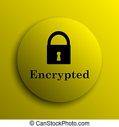 Encrypted icon Yellow internet button