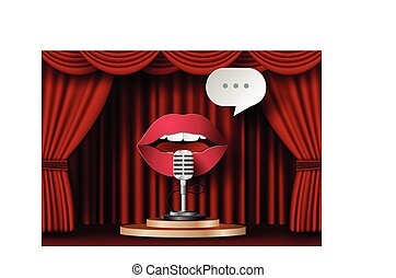Lips are talking to the microphone on theater stage with red...