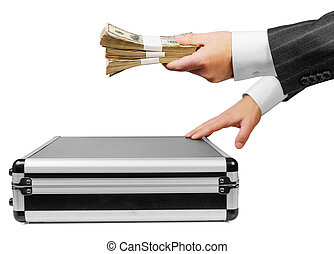 Human hand with Money and case isolated on white background