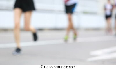 Marathon runners on the street - BANGKOK,THAILAND- FEBRUARY...