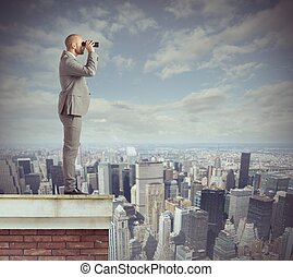 Businessman looks beyond - Curious businessman looks beyond...