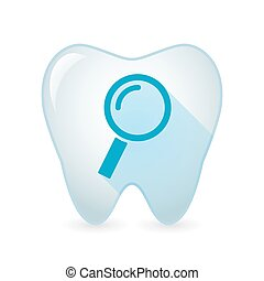 Tooth icon with a magnifier - Illustration of an isolated...