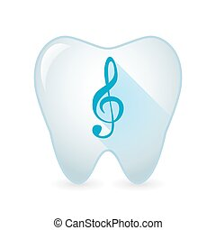 Tooth icon with a g clef - Illustration of an isolated tooth...