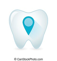 Tooth icon with a map mark